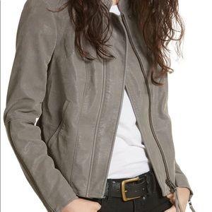 FREE PEOPLE vegan leather gray moto jacket XS 0